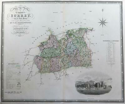 """1829 - Very Large ORIGINAL ANTIQUE MAP """"SURREY' by C & I GREENWOOD"""
