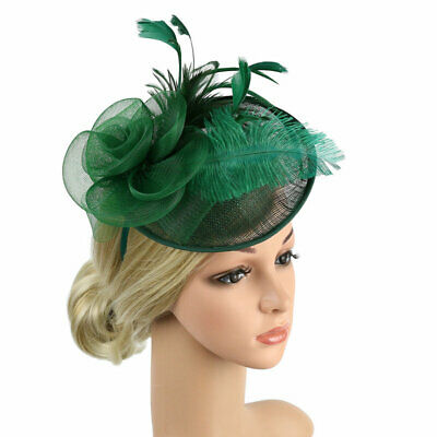 Women Fascinator Hat Lady's Day Ascot Races Flower Feather Hair Clip Cocktail
