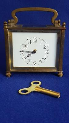 "Mid-C20th ""Moderne"" Satin Gilt Brass Cased Style Carriage Clock French Movement"