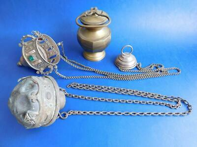 3x Antique Orthodox Church Religious Items Thurible Incense Burners
