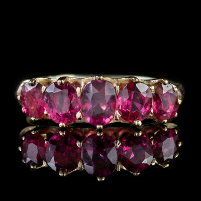 Antique Victorian Ruby Ring 2.90Ct Natural Rubies 18Ct Gold Circa 1900 Cert