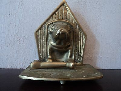 Vintage Large Heavy Footed Brass Cast British Bull Dog Doorstop/Bookend-Unusual.