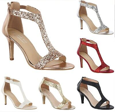 Ladies Sparkly Glitter High Heel Sandals Shoes T-Bar Evening Party Prom Size 3-8