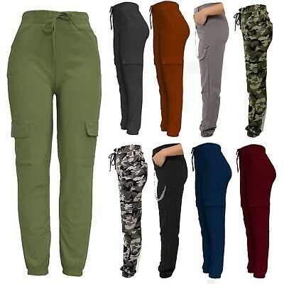 New Ladies Cargo Combat Stretch Casual Trousers Womens Slim Fit Sport Joggers