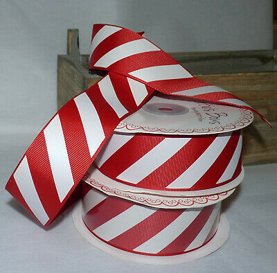 1M RED & WHITE CANDY CANE GROSGRAIN  RIBBON - 38mm #CRAFT/GIFT WRAP