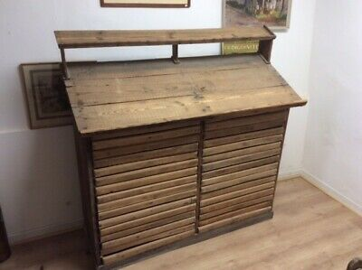 Antique C19th Vintage Rustic French Oak ,Beech and Pine 32 Drawer Printers Chest