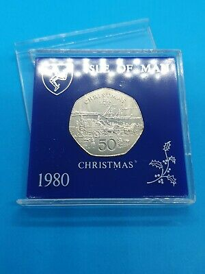 1980 Isle of Man Christmas 50p Fifty Pence Coin Mona's Isle Steam Boat AA Die A2