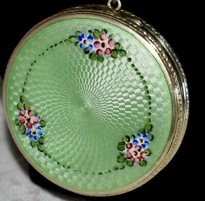 STUNNING!!! Antique STERLING SILVER Hand Painted Green ENAMEL GUILLOCHE Compact
