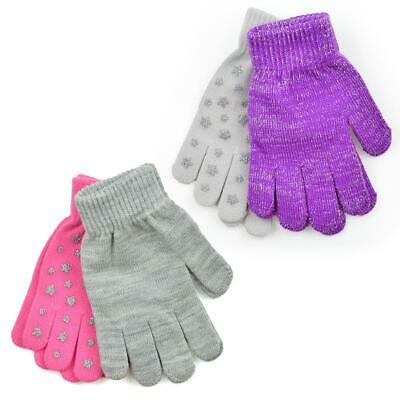 Girls Kids Undercover 2 Pack Thermal Winter Magic Glitter Star Grip Gloves