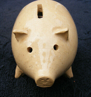 Vintage East Knoll Pottery Yellow Ware Pig Still Bank Full of Coins