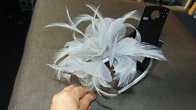 M&S Feather Fascinator with Diamante Detail ONE SIZE Grey BNWT