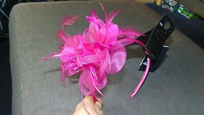 M&S Feather Fascinator with Diamante Detail ONE SIZE Fuchsia Pink BNWT