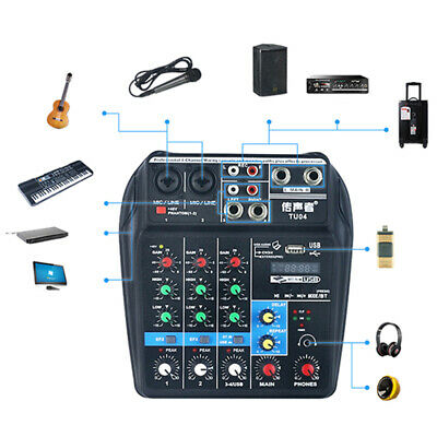 USB Audio Mixer Console Sound Mixing 4Channel Bluetooth Record 48V Phantom Power