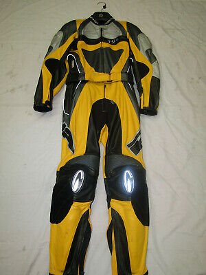 Richa Ladies Two Piece Yellow / Black / Silver Leather Motorcycle Suit - Uk 8