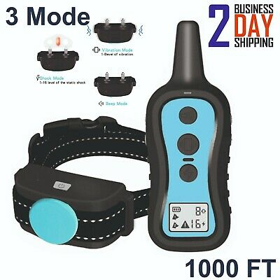 Dog Training Shock Collar Electric Remote 1000ft Control FOR Small Large Big Dog