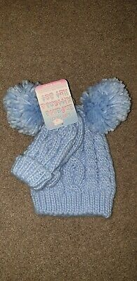 Baby Boys Blue Double Pom Pom Hat And Mittens 0-12 Months