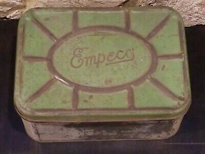Vintage National Can Empeco metal tin vented bread box container green farmhouse