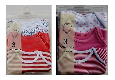 3 Fold Pack Baby Body 1/2 Sleeve Baby Girl 100% Cotton Red Pink New
