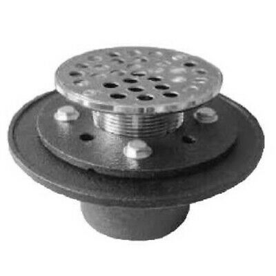 "PROFLO PF42957RD  Cast Iron Round Shower Drain (2"" IPS Connection) - Chrome"