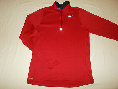Nike Dri-Fit 1/2 Zip Long Sleeve Red Running Shirt Mens Small Excellent Cond.