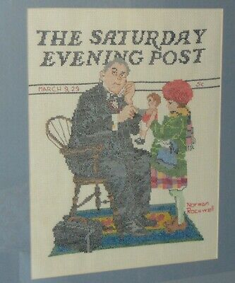 FRAMED Vintage NORMAN ROCKWELL Cross Stitch SATURDAY EVENING POST Doctor & Doll