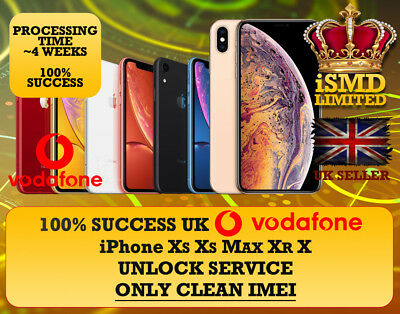 Permanent Unlock Uk Gb Vodafone Iphone Xs Xs Max Xr X Unlocking Imei Service