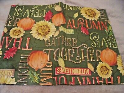 "NEW FALL TABLECLOTH 52"" X 70""  Sunflowers PUMPKINS Leaves AUTUMN Decor Green"