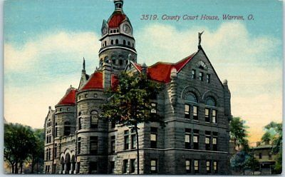 Warren, Ohio Postcard TRUMBULL COUNTY COURT HOUSE w/ Griswold Co. Ad on Back