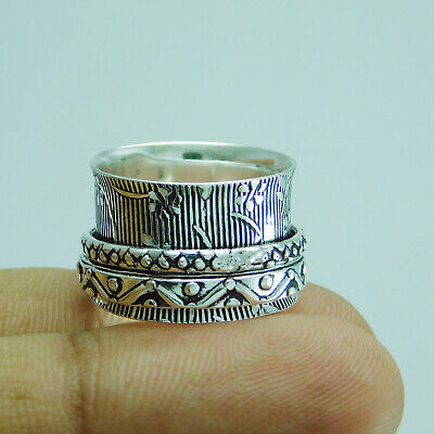 Ethnic Jewelry 925 Silver Plated Spinner Ring US Size 6.5 R-1928