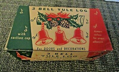 VINTAGE 3 BELL YULE LOG Original Box Only Christmas Decorative Packaging