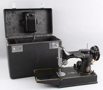 Antique 1952 Singer 221-1 Featherweight Sewing Machine & Hard Case
