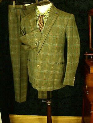 Bespoke Great Colour Mens Vintage Tweed Suit Size 38 Small 40 med 34 W 31 32 Leg