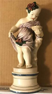 "Antique 8 1/4"" Tall Ceramic Female Cherub Clock Finial - LQQK - RARE"