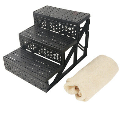 Portable Soft Cat Dog 3 Steps Ramp Ladder Small Climb Pet Step Stairs Beige