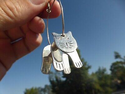AMAZING Vintage Mexican STERLING SILVER TAXCO Dangle Kitty Cat EARRINGS Great on