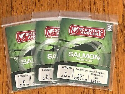 6 Scientific Anglers Salmon Fly Line Leaders, 9' 12 lb, NR