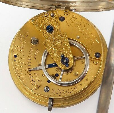 1871 Signed Fusee English S/Silver Pocket Watch. C W Atkin, Tullamore
