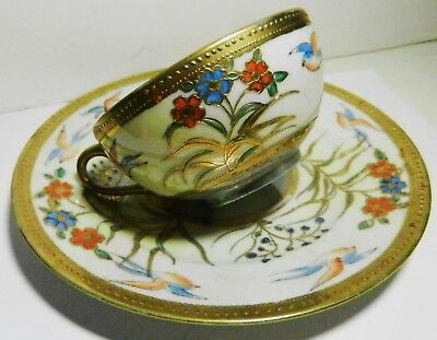 Gold Beaded Hand Painted Flowers & Birds Opalescent Lustre Plate & Cup-Japan