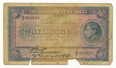 Malta 10 Shillings 13th September 1939 P. 13 George VI  RARE