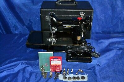 Singer Featherweight 221 Sewing Machine 1951 Centennial Attachments Serviced