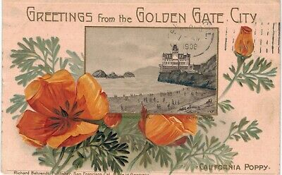 San Francisco Christmas Greetings Golden Gate Cliff House Poppy 1910 CA