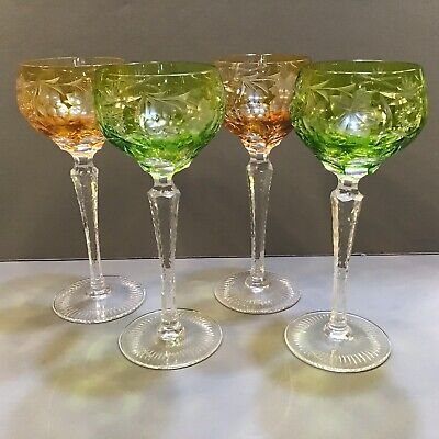 SET 4 Multi colored BOHEMIAN CUT TO CLEAR CRYSTAL WINE HOCK GOBLET STEM