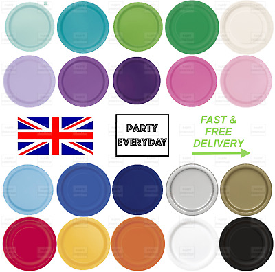 "Round Paper Party Plates 7"" & 9"" Birthday Tableware Plain Solid Colours Events"
