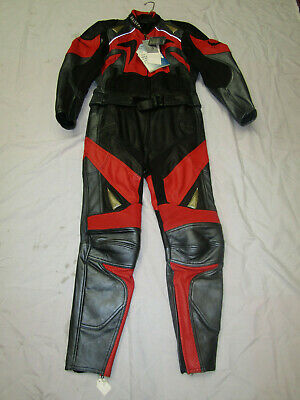 Belstaff Ladies 2 Piece Black / Red / Grey Leather Motorcycle Suit - Uk 14