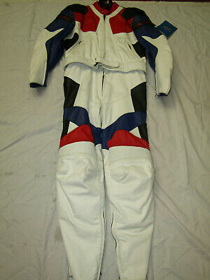 Aces Mens 2 Piece White / Red / Blue Leather Motorcycle Suit - Uk 50