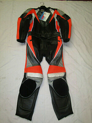 Belstaff Mens 2 Piece Black / Orange / Grey Leather Motorcycle Suit - Uk 40