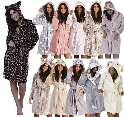 Womens Luxury Soft Coral Fleece Novelty Animal 3D Dressing Gown Robe Hood