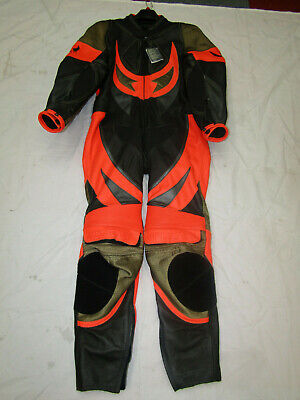Belstaff Mens One Piece Black / Orange Leather Motorcycle Suit - Uk 42 / 44