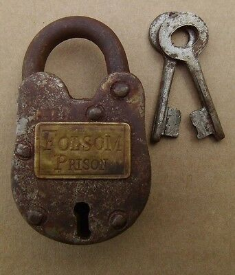 Old West Cast Iron Padlock Folsom Prison Lock W/2 KEYS WORKS Free Ship