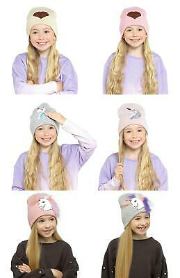 Girls Kids Undercover Unicorn/Heart Beanie Hat with Reversible Sequins